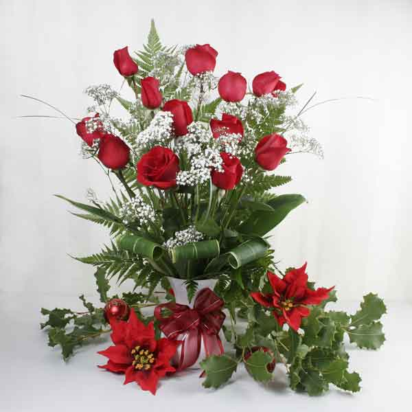 12 red Roses with White Vase and Red Ribbon