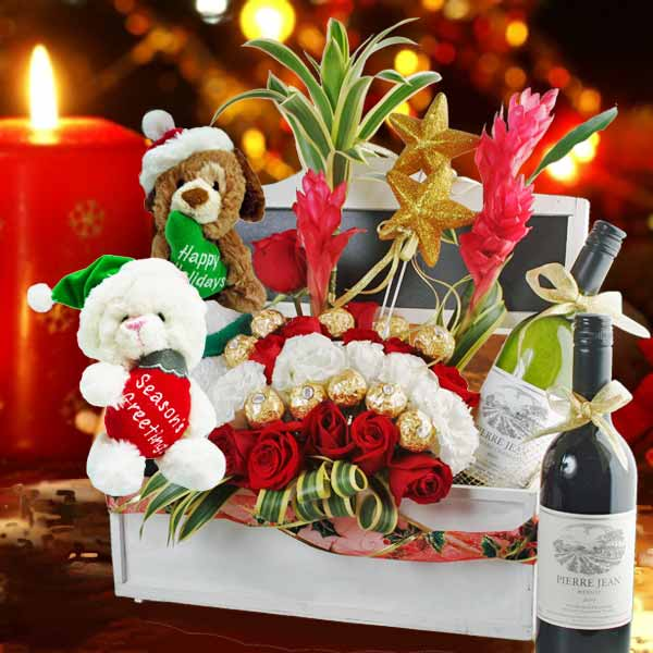 Red Roses With Red & White Wines