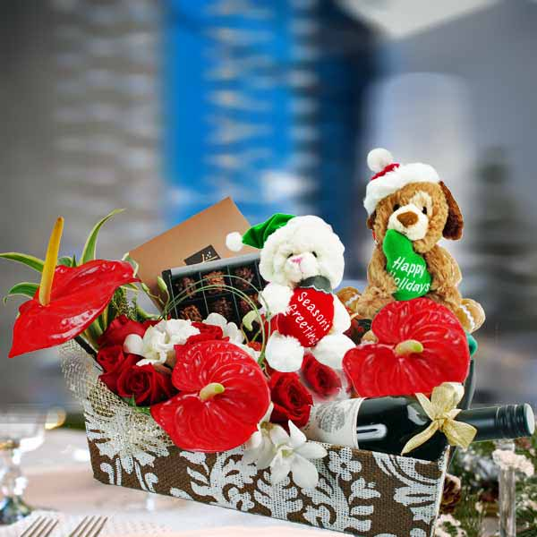 Roses, Wine & Chocolate Christmas Gift