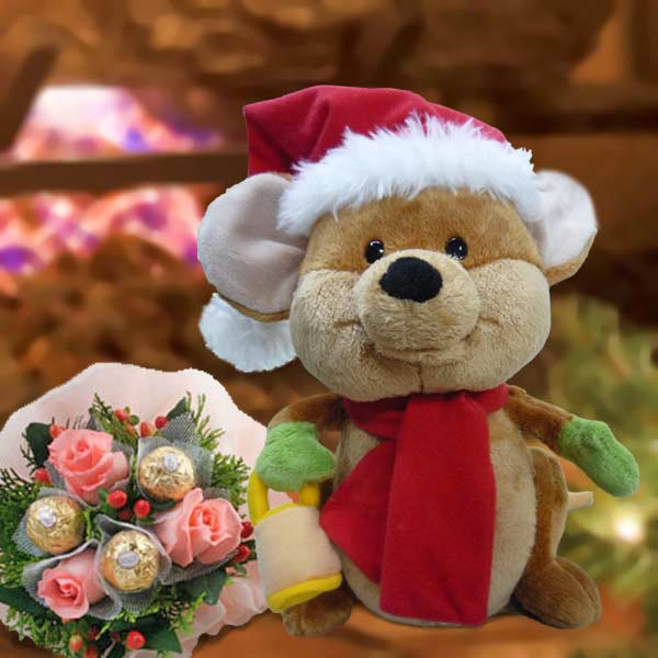 Singing Merry Mouse By Gund & Roses Bouquet