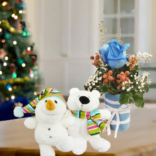 "Gund Talking Walking 8"" Santa With Rose Standing Bouquet"