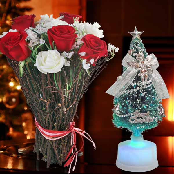 5 Fresh Red Roses & Artificial White Roses Standing Bouquet With LED Christm