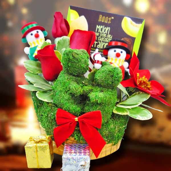 3 Red Roses & Chocolate With Christmas Decoration in Basket