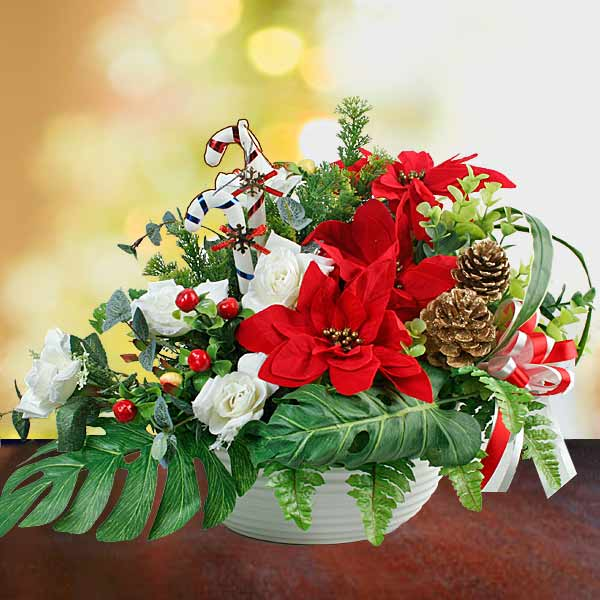 Artificial Poinsettia Flowers & White Roses Arrangement