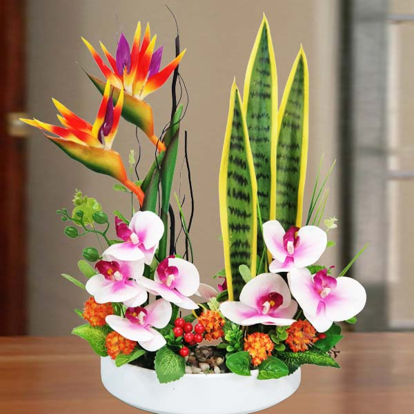 Ikebana with Artificial Bird of Paradize & Orchid flowers 50cm Height